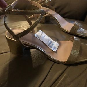 Gold block heel Sandlals. Brand new